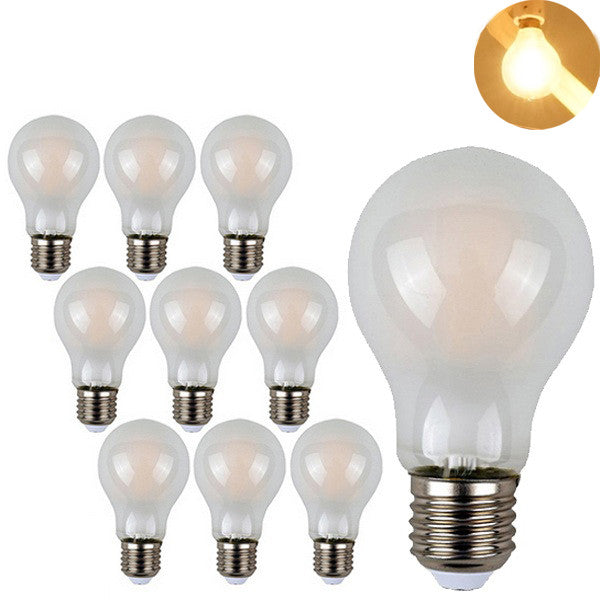 ZX Dimmable A19 Frosted Globe E27 LED 4W 8W COB Filament Chandelier Pendant Edison Light 110V 220V