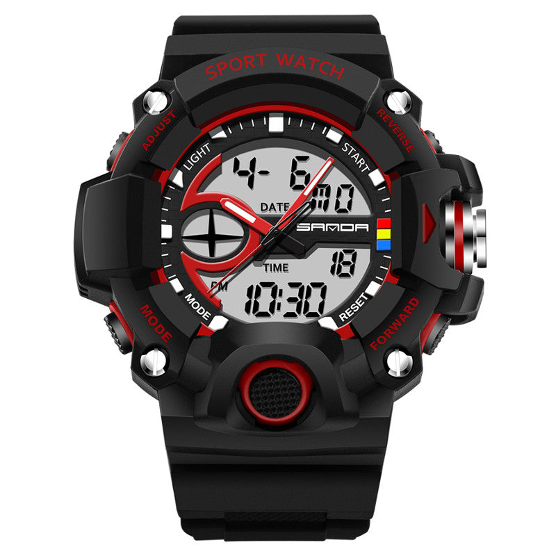 Wil je alles weten over SANDA 715 Dual Display Multi-function Sport Stopwatch Outdoor Fashion Men Digital Watch? Hier lees je alles over Jewelry and Watch Quartz Watches