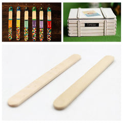 50PCS Wooden Popsicle Ice Cream Sticks Kids Arts Lolly Cake Craft Sticks DIY Handcrafts Materials
