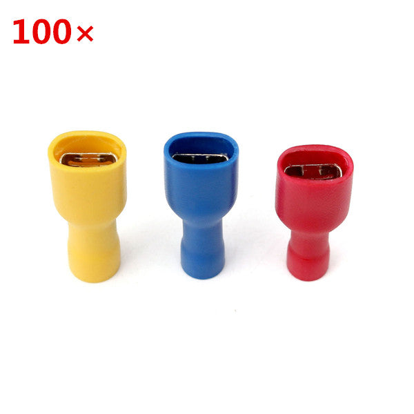 100Pcs PVC Insulated Terminal Female Quick Wire Connector Yellow-Red-Blue
