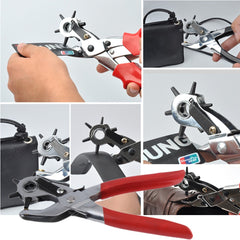 Honana WX-B2 Multi-function Portable Puncher Carbon Steel & PVC Red Belt Hole Puncher Sewing Belt Punching