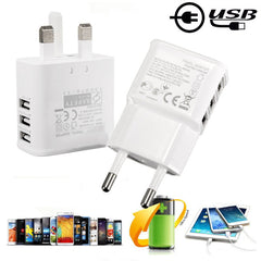 Universal 5V 2A 3 Ports EU UK Plug USB Wall Charger Power Adapter For iPhone Smartphones
