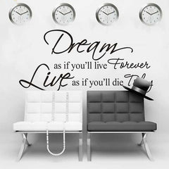 10M 3D Wallpaper Roll Happiness Slogan Huge Fork Wall Clock Combination Home Decor