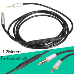 1.2 Meters 3.5mm-2.5mm Cable Remote Mic For Bose oe2 oe2i Headphone To Iphone Android