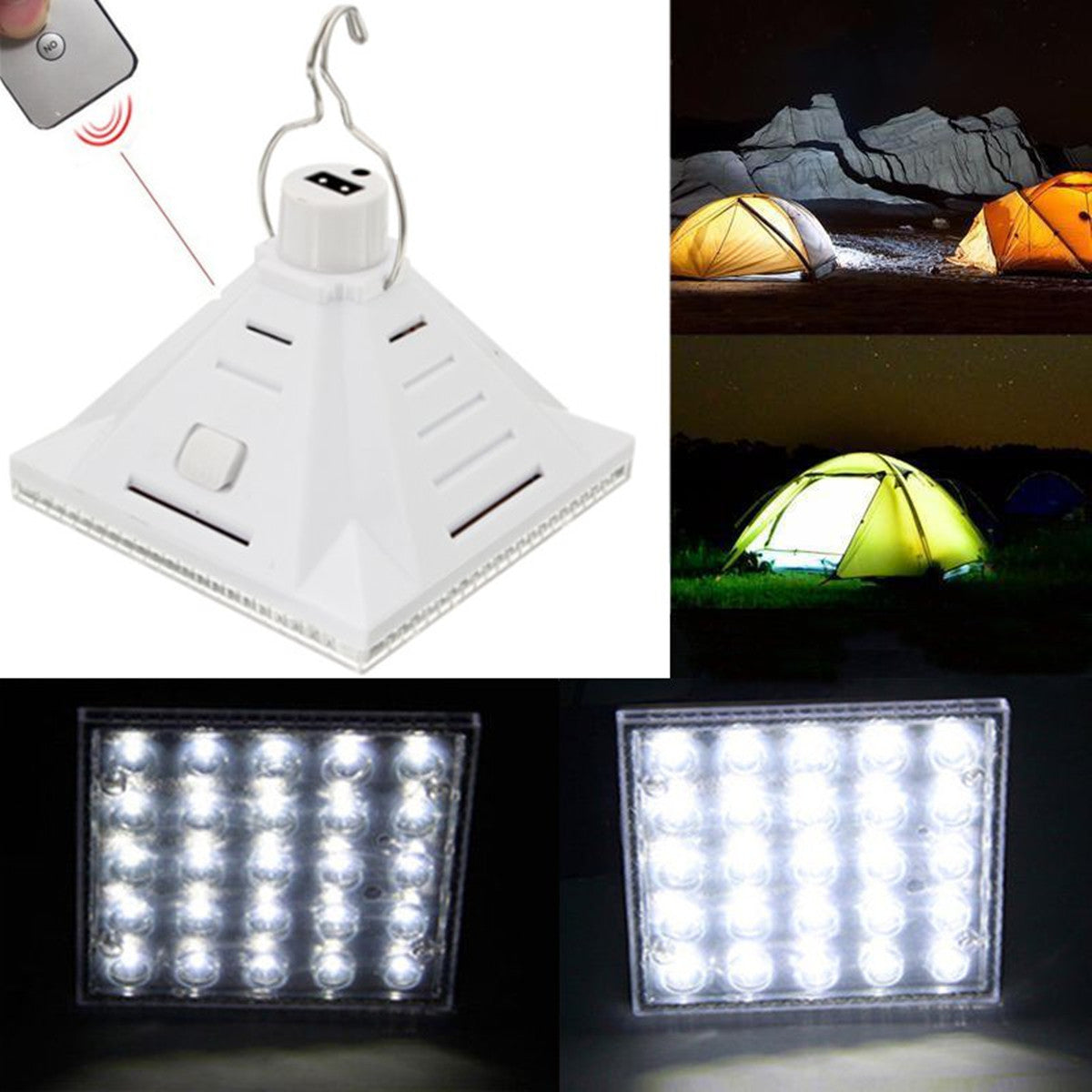 25LED Wit Zonne-energie Camping Lamp Afstandsbediening Hangend Outdoor Tent Light