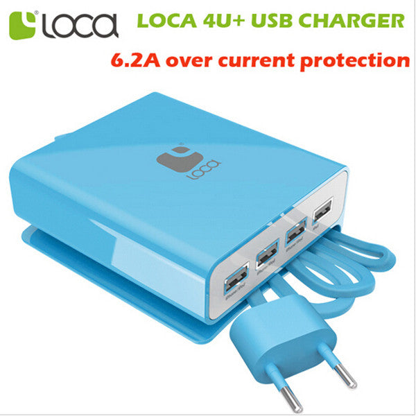 Loca EU Plug Intelligent 4USB Ports Wall Charger Adapter For iPhone iPad Samsung