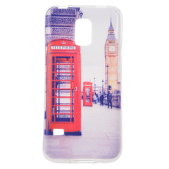 Colored Drawing Telephone Booth Pattern Case Cover for Samsung S5 mini