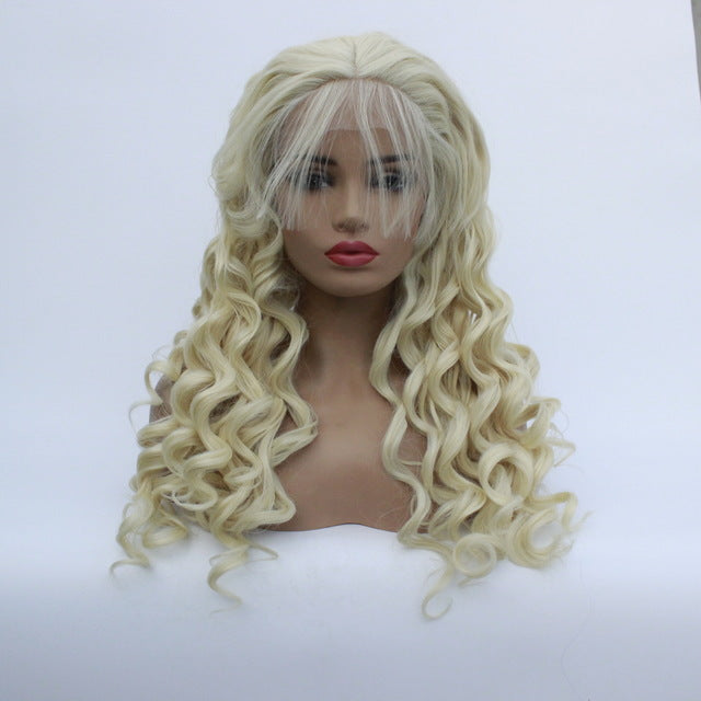African Small Volume Golden Yellow Wrapped Hand Roll Wavy Long Roll Twisted Wig