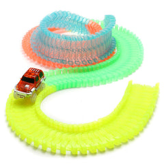 165 PCS Magic Assembling Electric Car Race Track Bending Glow In The Dark For Kids Gift Toys
