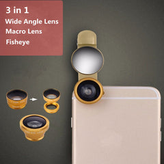 3 in 1 Universal Clip-On Fisheye 0.65X Wide Angle Macro Lens For iPhone 6S Plus Samsung