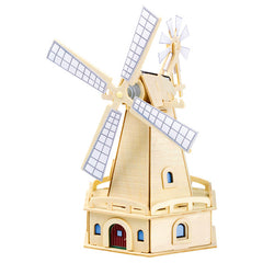3D Solar Power Windmill Energy Kits Brick Block Wood Puzzle Model Toy