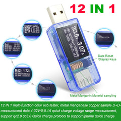 JUWEI 12 in 1 USB Tester DC Digital Voltmeter Ammeter Power Capacity Temperature Tester Power Bank Charger Indicator