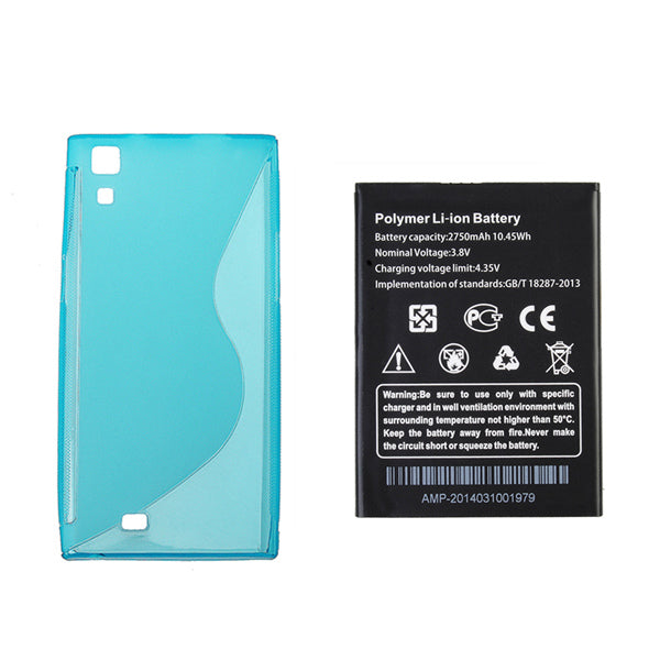 Original Replacement Battery+Blue TPU Back Case For THL T100s T11