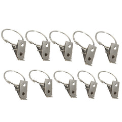 Silver Chrome Window Curtain Clips Rings Pole Rod Voile Drapery