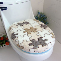 Two-piece Coral Fleece Warm Soft Outfit Toilet Seat Cover Set