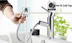 Bathroom Basin Faucet Pull Out Mixer Tap Solid Brass Single Handle Sink Tap