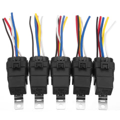 5 Pcs Automotive Relay Switch Harness 12AWG Wires Waterproof 40/30Amp 12VDC