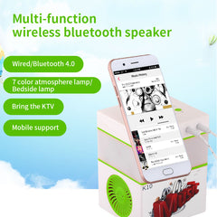 K10 Multifunctions Portable Bluetooth Speakers Handheld KTV Stereo Music LED Bluetooth Speaker Support TF Card LED Lights