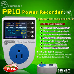 PR10-E 16A US Plug Power Meter Home Power Metering Socket Watt Meter with 2.4 inch TFT Color LCD 0.1~3750W