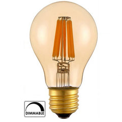 ZX Dimmable A60 Amber Glass LED 4W 8W COB Filament Edison Pendanr Chandelier Light Bulb 110V 220V