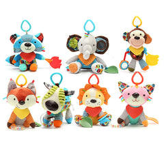 Baby Rattles Stuffed Toys Animal Socks Plush Rattle with Ring Bell Toy For Toddlers Learning