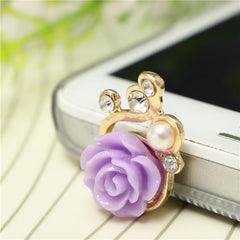 3.5mm Pearl Rose Anti Dust Earphone Plug Stopper Cap Gadget Accessories For iPhone Cell Phone