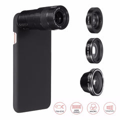 5 In 1 9X Telephoto 0.63X Wide-angle Macro Fisheye Camera Lens+Case For iPhone 7
