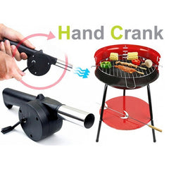 BBQ Tool Barbecue Grill Cranked Outdoor Picnic Hand Fan Starter Blower