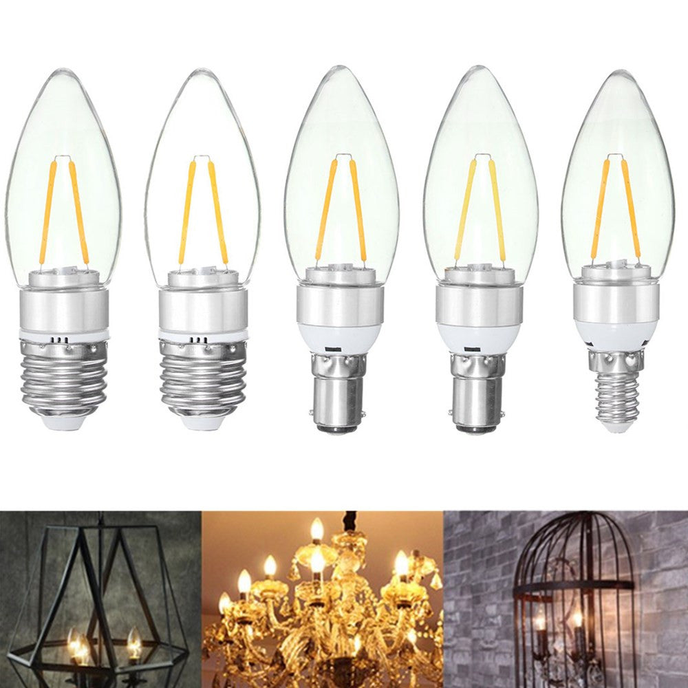 E27 E14 E12 B22 B15 1.6W LED Pure White Warm White Filament Candle Light Lamp Bulb AC110V