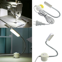 1W 220V Sewing Machine 12 LED Gooseneck Light Magnetic Base With US Plug