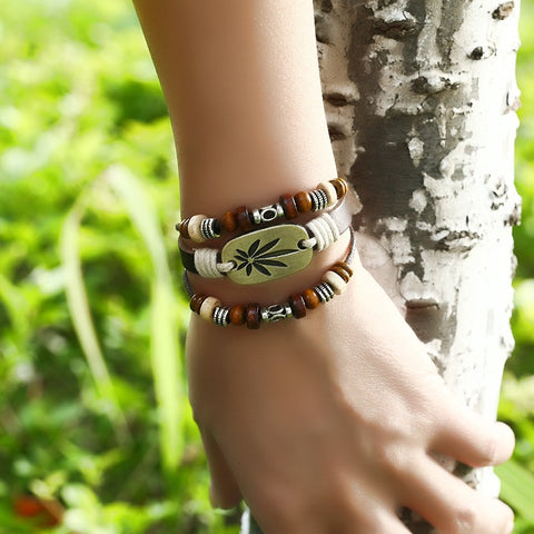 Vintage Maple Leaf Bracelet Real Leather Multi Layer Bracelet For Women Men Bracelet