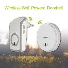 No Battery Energy Saving Strong Signal Self Powered Wireless Doorbell White