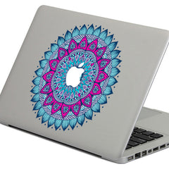 PAG Blue Flower Ring Decorative Laptop Decal Removable Bubble Free Self-adhesive Partial Color Skin