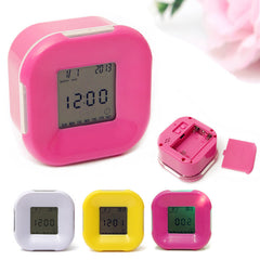 Multifunction 4 Side Change Clock Calendar Timer Temperature Rotation LED Digital Alarm Clock