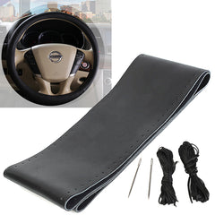 38cm 15'' Black DIY Car Genuine PU Leather Steering Wheel Cover For Volvo