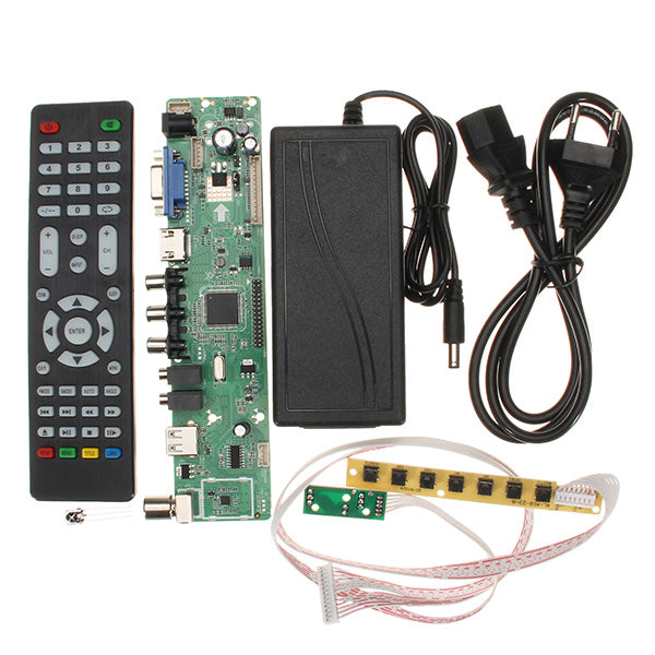 V56 Universal TV LCD PC-VGA-HDMI-USB Controller Driver Board + EU Adapter + Keyboard