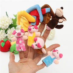 8 PCs Family Finger Puppets Cloth Soft Doll Baby Puzzle Hand Toy