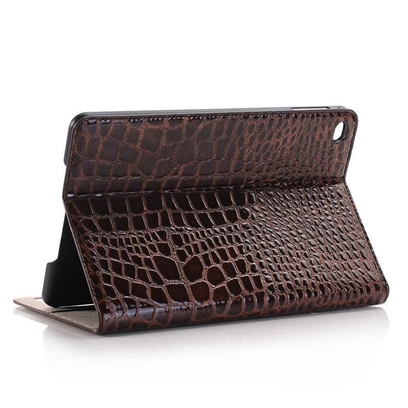 WLD A002 Crocodile Embossed Plate Shell Flip PU Leather Protective Cases For iPad Mini 4