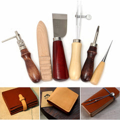 6pcs Wood Handle Leather Craft Tool Kit Leather Hand Sewing Tool Punch Cutter DIY Set