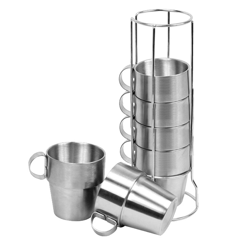 4 PCS Outdoor Portable Picnic Cups Stainless Steel Drinking Mugs Anti-Hete Thee Koffie Cup Set