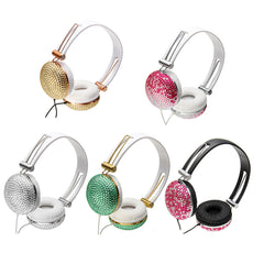 3.5mm Crystal Diamond Lightweight Portable Foldable Headphone Headset For Smartphone Tablet PC
