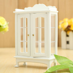 White 1/12 Dollhouse Miniature Furniture Wooden Display Cabinet 14x8.7x4cm