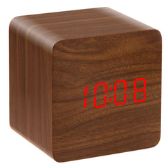 Voice Activated Electronic LED Display Wooden Alarm Clock Temp Display Power Off Memory Function