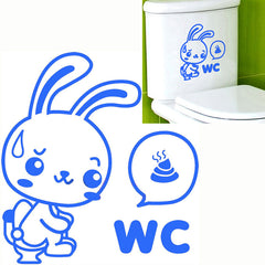 WC Rabbit Toilet Cover Sticker Removable Closestool Seat Decor