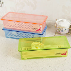 Multi-Functional Plastic Kitchen Tableware Chopsticks Spoon Fork Storage Box With Cover Drop Water