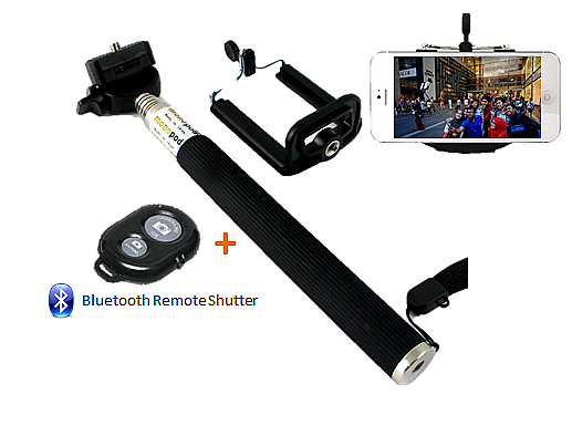 Selfie stick Bluetooth (zwart)