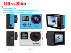 "Action Camera Ultra HD 4K Video Sports Camera 170D Wide Angle 2"" Dual Screen en WIFI"