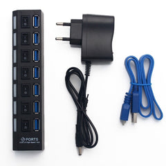 USB 3.0 HUB High Speed 7 poorten + power adaptor