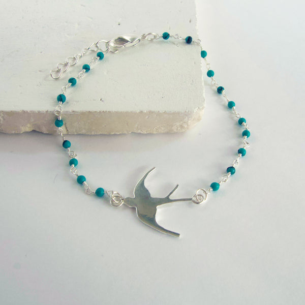 Turquoise Silver Swallow Bracelet