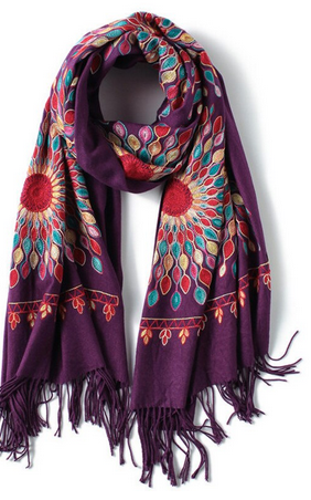 Embroidered Cashmere and Wool Purple Scarf